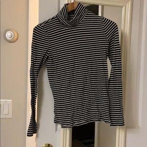 J.Crew black & white Striped cotton turtleneck